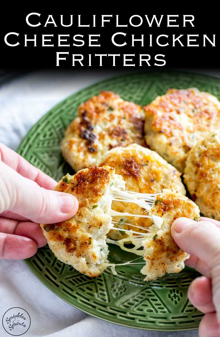 Everyone will love these Cauliflower Cheese Chicken Fritters. These are perfect for a mid-week family meal. Light, crispy, and packed with cauliflower, the whole family demolishes these fritters.