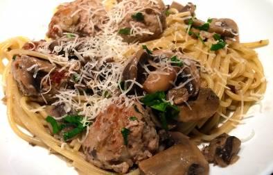 Pork Meatballs with Garlic Mushroom Sauce