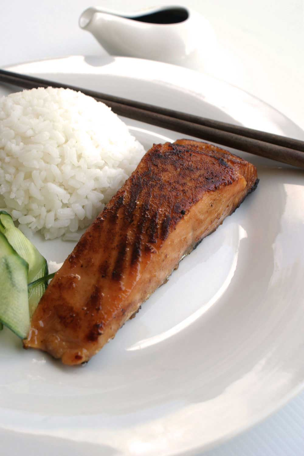 Miso Salmon with pickled cucumber and Japanese Rice