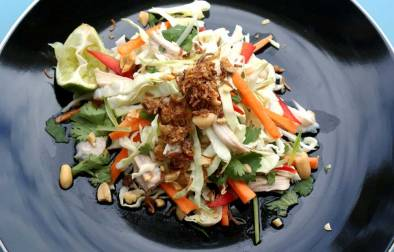 Vietnamese Chicken Salad. A crispy delicious salad with a salty, sour sweet dressing and a crunchy topping.