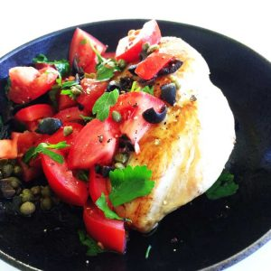 Chicken with a tomato and olive dressing. A great 20 minute meal with tastes of Italy www.sprinklesandsprouts.com.au