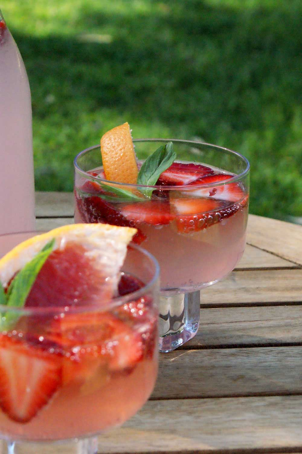 Pink Grapefruit and Strawberry Punch. Great summer drink with alcoholic and non alcoholic options.