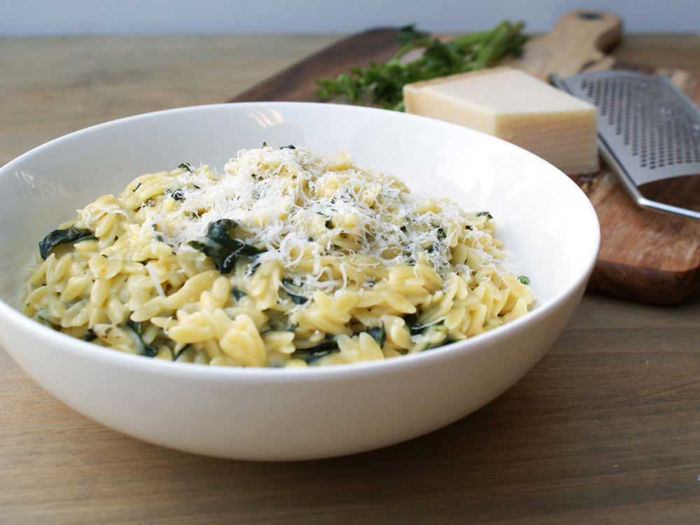 Risoni with Spinach, Parmesan and Basil. A comforting easy supper that is great on it's own or as a tasty side dish.