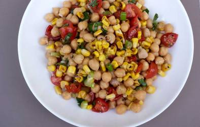 Chickpea and Corn Salad. A delicious, colourful and healthy dish. Perfect on it's on or with grilled meats.
