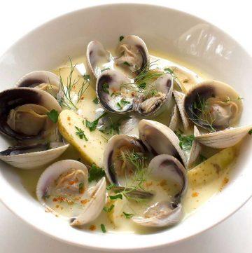 Creamy Saffron Clams. Potatoes and saffron add depth of flavour to this deliciously creamy clam recipe.