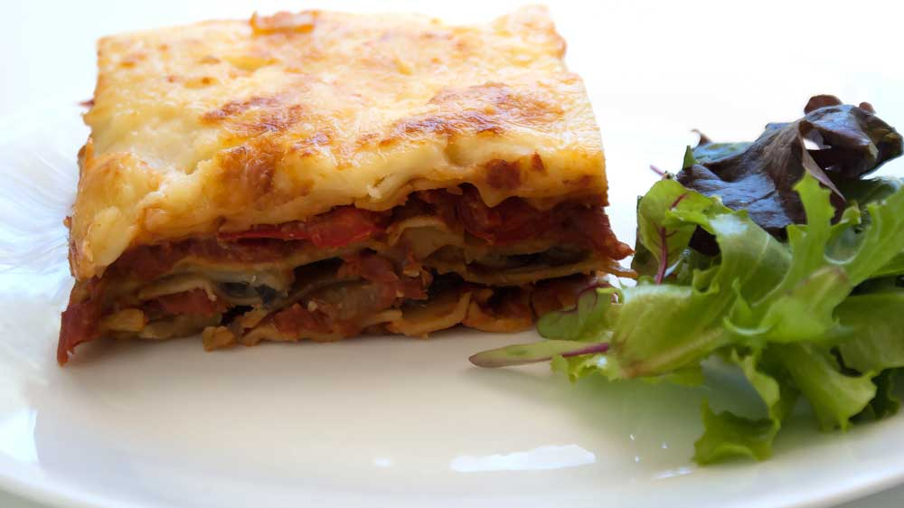 Chargrilled Vegetable Lasagne. A delicious vegetarian lasagne recipe, packed full of roasted capsicums, zucchinis and mushrooms. This dish can be prepared ahead of time making it ideal for casual entertaining.
