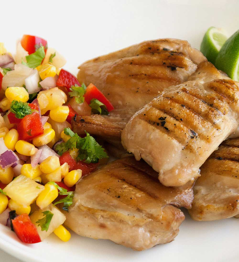 Grilled Chicken with a Pineapple and Capsicum Salsa. The perfect mix of hot and cold, sweet and spicy. A delicious and simple dish to make for an alfresco meal with friends or family.