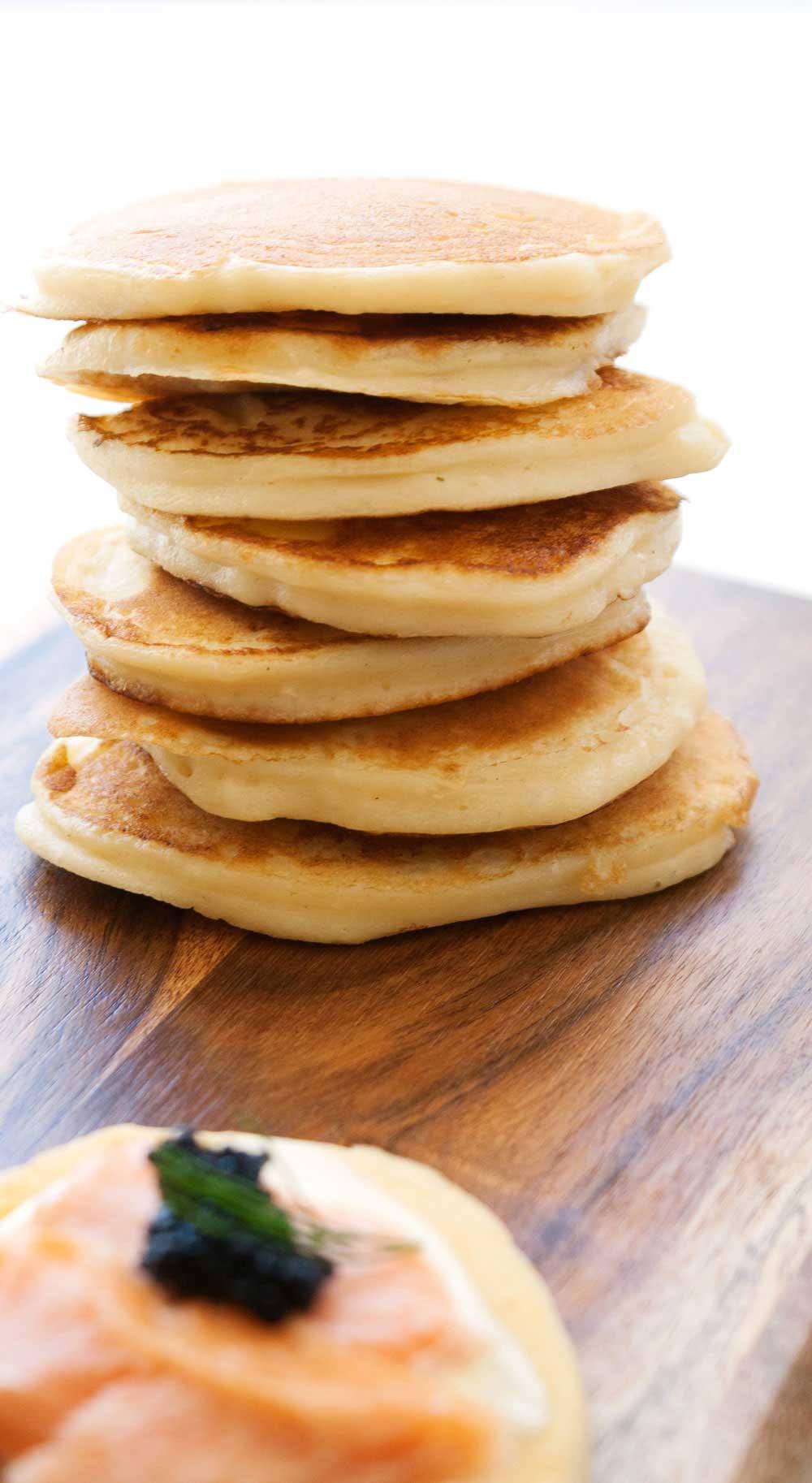 Smoked Salmon Pancakes with Sour Cream and Caviar Recipe