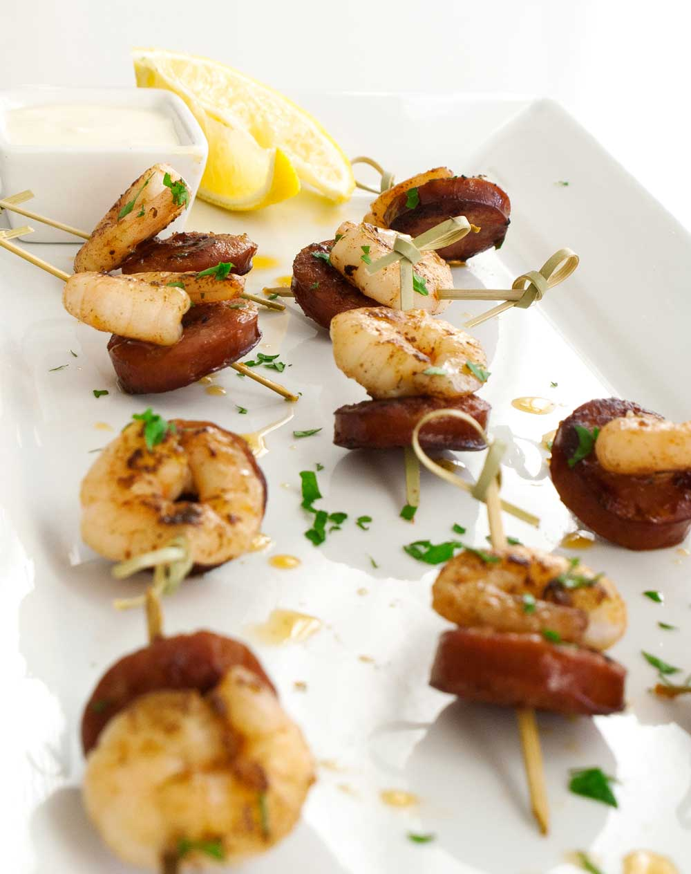 Chorizo and Prawn Skewers with a Creamy Lemon Dip. A delicious and simple appetiser that will be demolished in seconds.