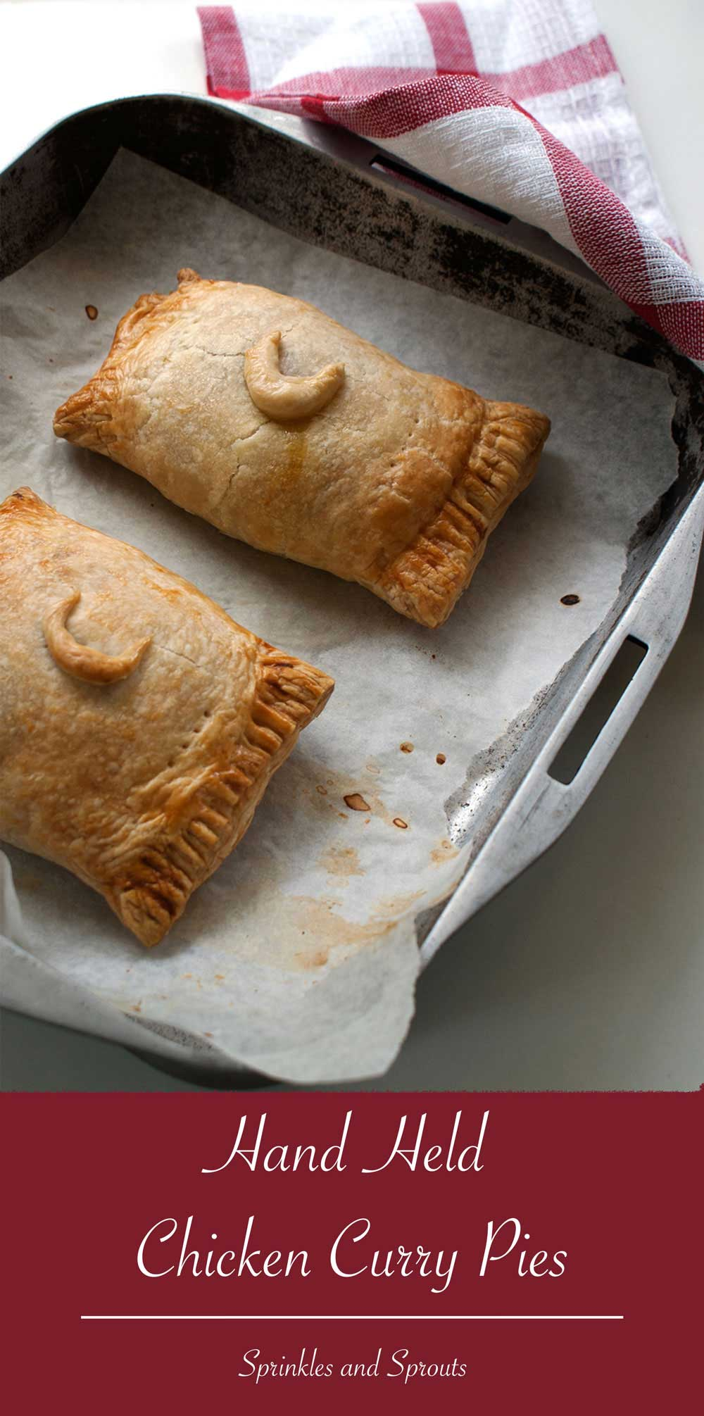 Hand Held Chicken Curry Pies. Puff pastry with a warming lightly spicy filling. Perfect for lunch or a picnic.