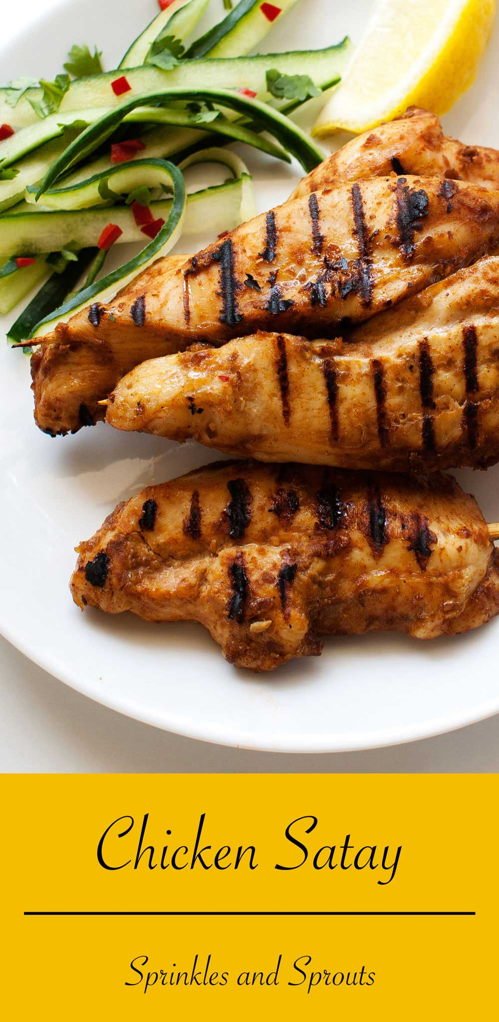 Chicken Satay. A delicious way to enjoy chicken breasts. Perfect for a snack or easy dinner.