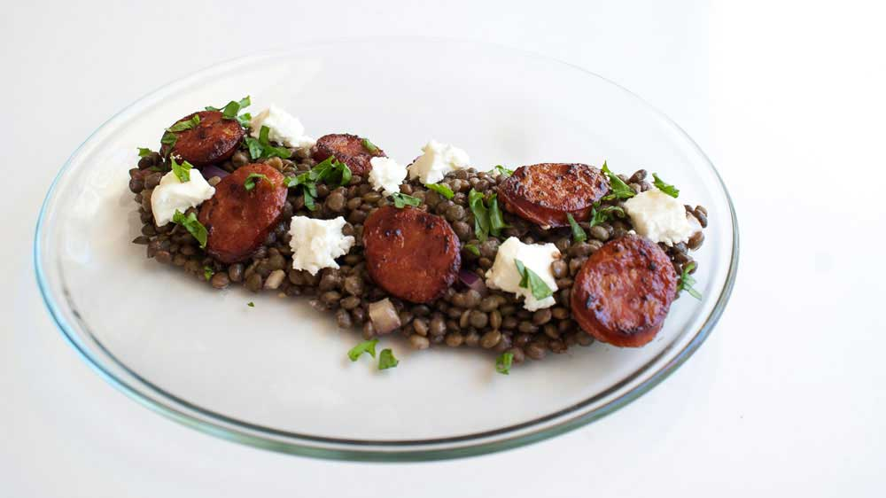 Chorizo, Feta and Lentil Salad. Creamy puy lentils in a light dressing served with salty soft feta and crispy hot chorizo. A great gluten free recipe.