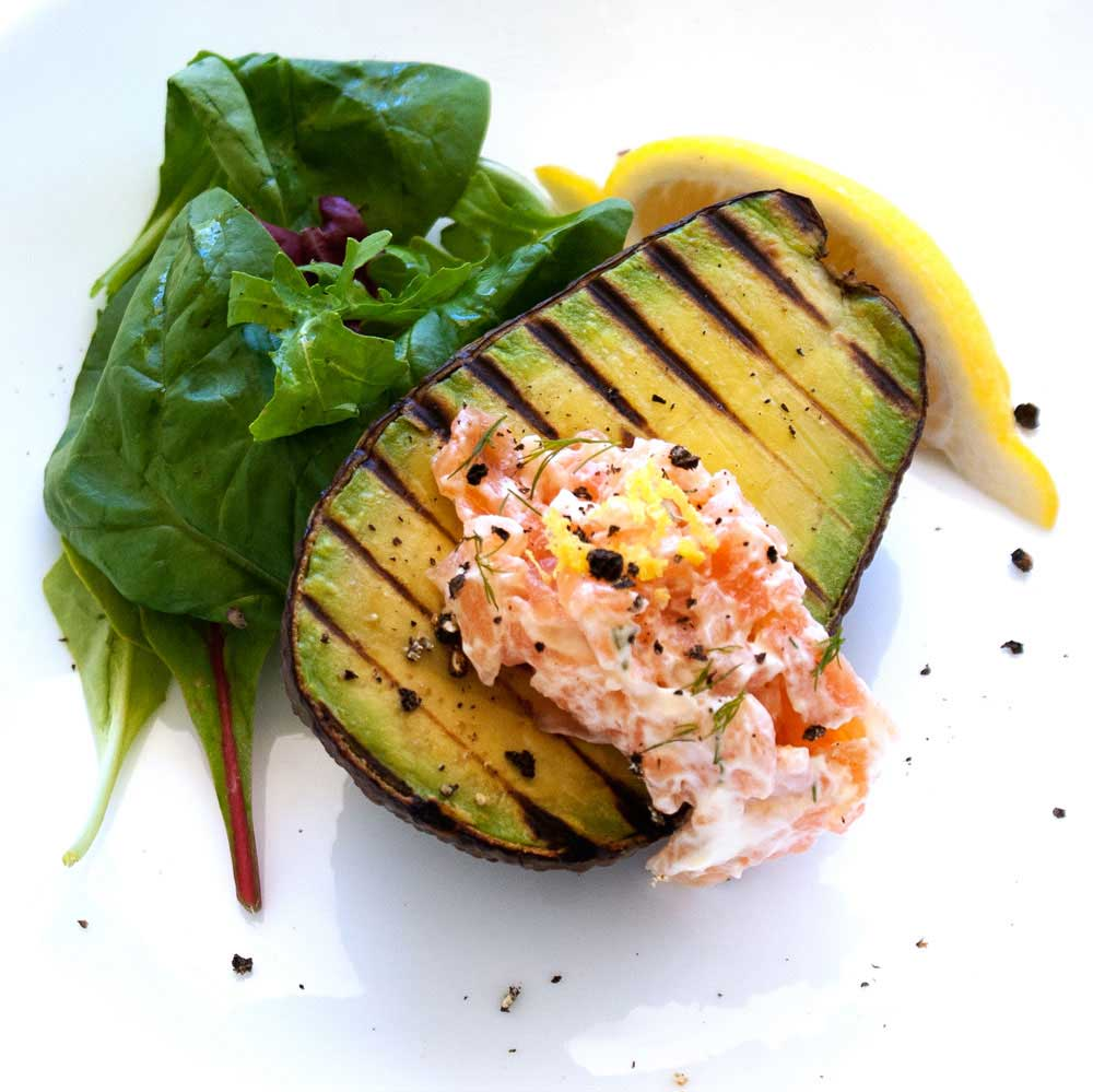 Grilled Avocado with a Smoked Salmon Cream. A fresh and delicious brunch or light lunch.