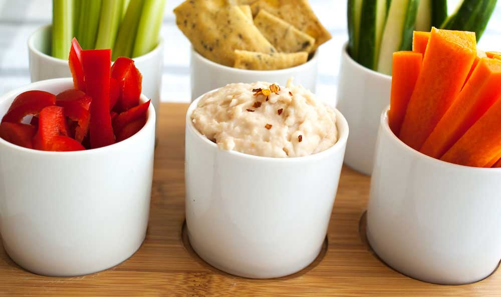 White Bean Dip. Store cupboard ingredients are used to create this delicious and easy bean dip.