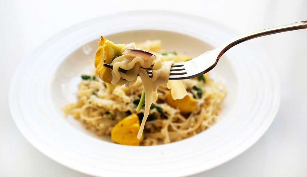 Pasta with Rocket and Roasted Squash. A light, vegetarian pasta dish that is full of fresh flavours.