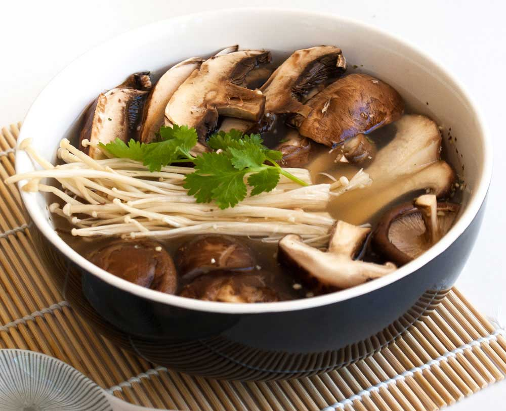 Mushroom Miso Soup. Earthy and delicious. A great vegetarian lunch that is quick to prepare.