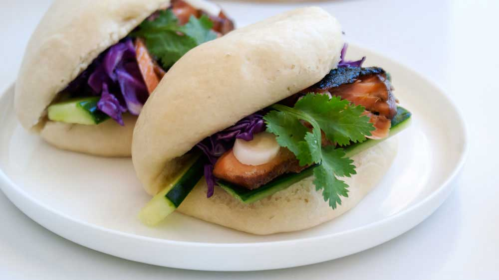 Asian Salmon with Steamed Buns. A delicious, healthy and satisfying lunch idea.