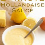 bowl of hollandaise with a spoon in it and text at the top