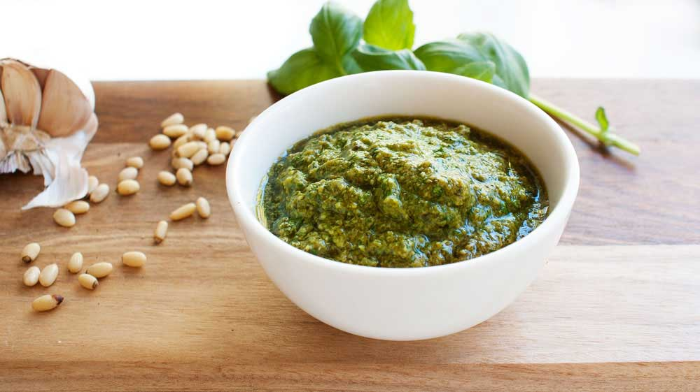 Roasted Garlic Pesto with a Secret Ingredient. This pesto was my food of choice during my pregnancy!
