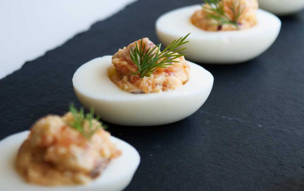Smoked Salmon Devilled Eggs. Delicious and rich. These devilled eggs are the perfect canapé or appetiser.