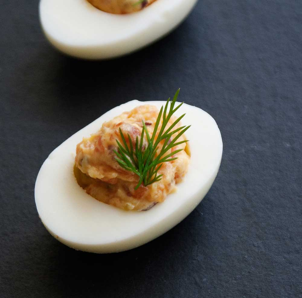 Smoked Salmon Devilled Eggs. Delicious and rich. These devilled eggs ...