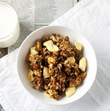 Apple Crumble Granola. Crunchy and flavourful. It is like having a pudding for breakfast, but without the guilt.