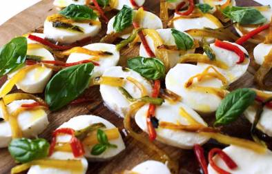 Roasted Chilli and Basil Bocconcini. A great appetiser or sharing platter.
