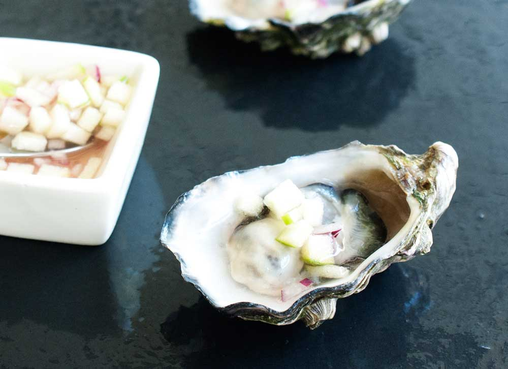 Oysters with an Apple and Red Onion Mignonette