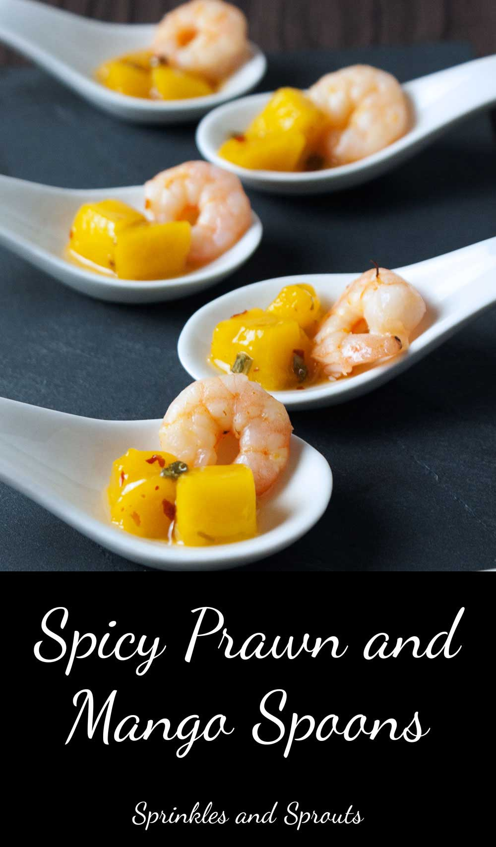Spicy Prawn and Mango Spoons. A great sweet and spicy prawn appetiser. (A great sweet and spicy shrimp appetizer)