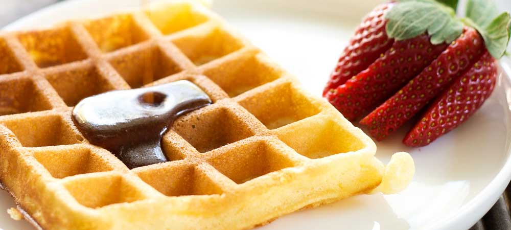 Waffles with Brown Sugar Butter Syrup