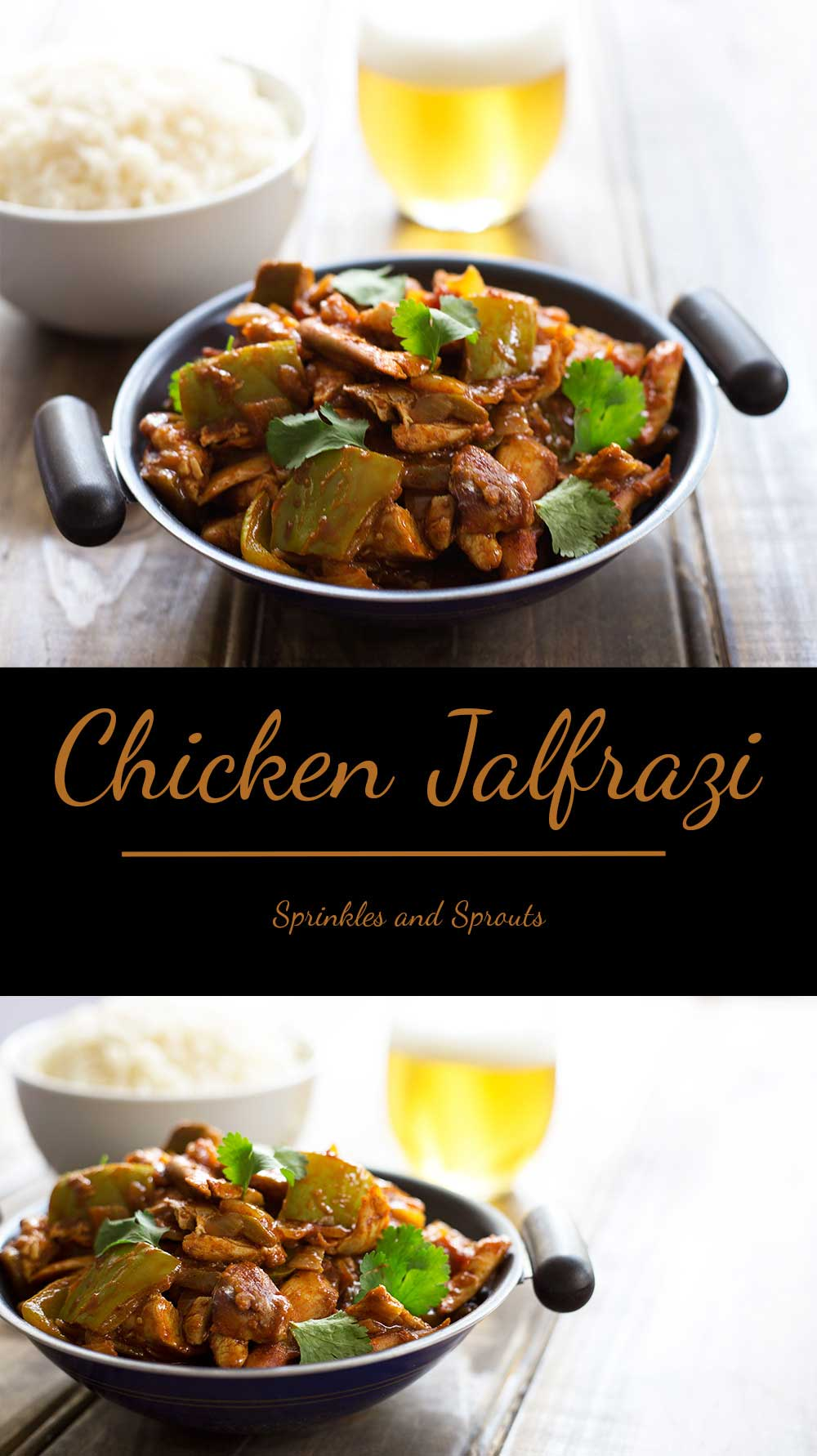 Chicken Jalfrezi, a fresh, zesty spicy curry packed withfresh tomatoes, green capsicum, green chillies, onions, herbs andspices. Crack open a beer and enjoy a homemade 'takeaway'.