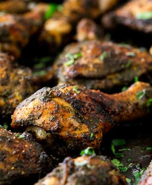Crispy chicken skin, packed with savoury flavours, delicious moist meat and so simple you can just throw it in the oven and forget about it. Serve with potatoes and coleslaw for a simple mid-week meal.