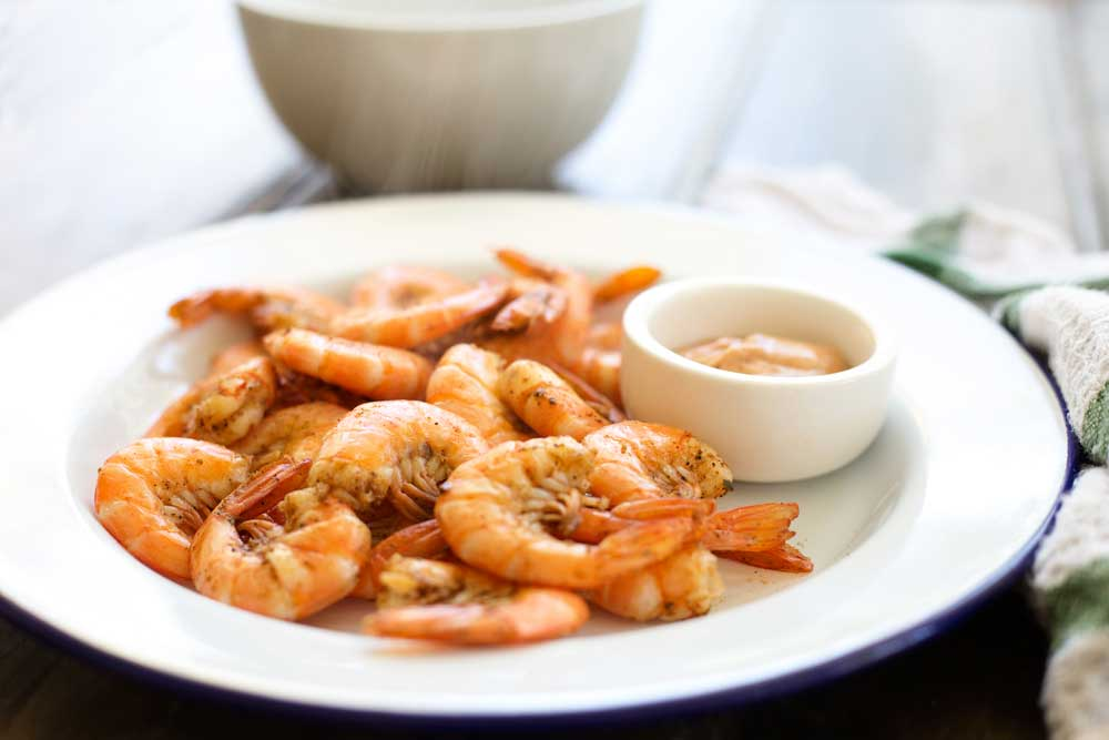Steamed Spiced Shrimp With Old Bay Cocktail Sauce Sprinkles And