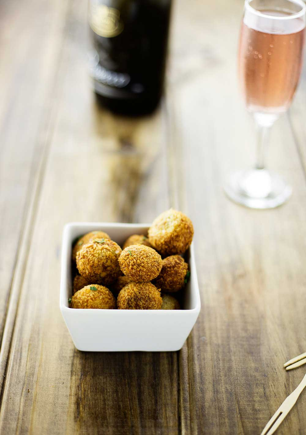 Roasted Chicken Croquettes. These balls are little crunchy bites that taste like a roast chicken dinner! There is the crispy salty edge, a soft juicy sage spiked centre. Life is short, deep fry your croquettes, buy the shoes, say I love you when you feel it and always order an appetiser!