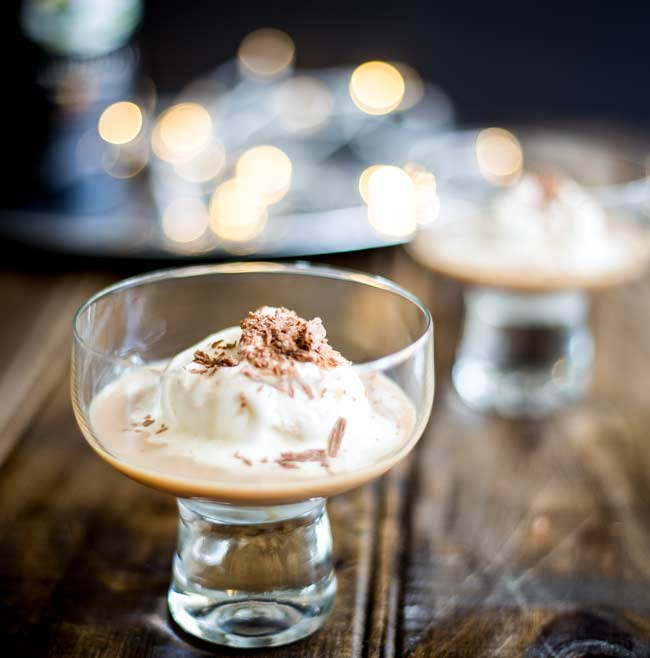 close up of the ice cream melting into the baileys