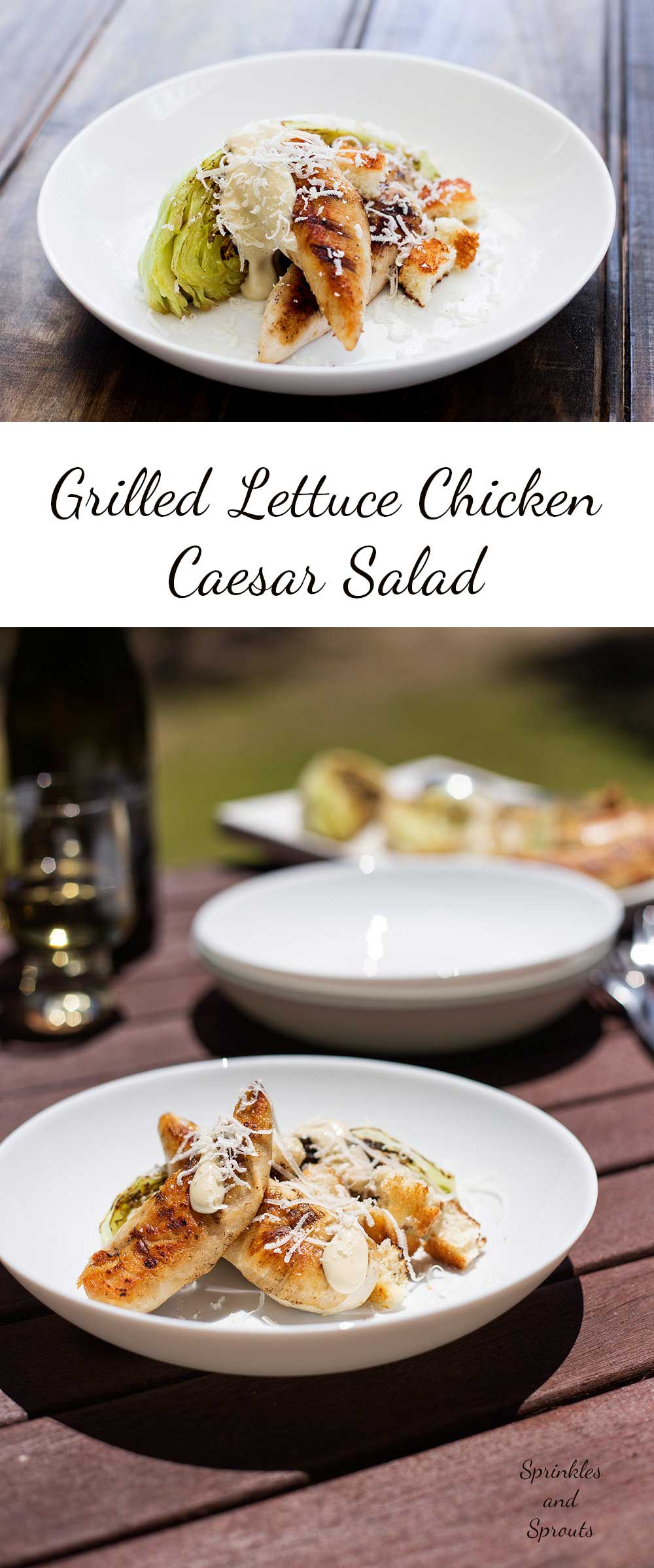 Grilled Lettuce Chicken Caesar Salad. A smoky delicious alternative to the standard chicken salad. This is great for the barbecue | Sprinkles and Sprouts