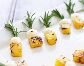 FEATURE IMAGE - Showing charred pineapple, chilli mozzarella on rosemary skewers