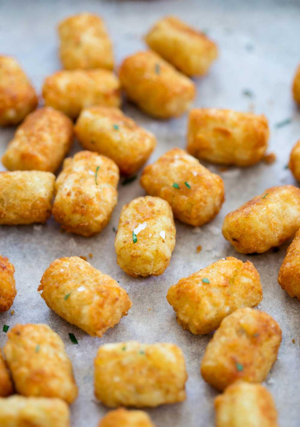 Homemade potato tots, shredded potato, cooked until crisp on the ...