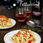 Christmas Fettuccine. Creamy, comforting pasta. Spiked with rosemary, a hint of lemon and plenty of parmesan. Put 'The Holiday' on and enjoy your own take on Iris' Christmas Fettuccine. | Sprinkles and Sprouts