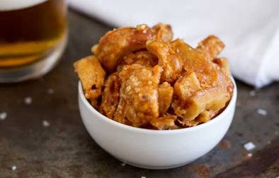 Crispy Crackling Bites. They are salty crispy bites of amazingness! Do you remember the pork scratching you could buy in pubs, these are a homemade version and they are sooooooo good!   Sprinkles and Sprouts