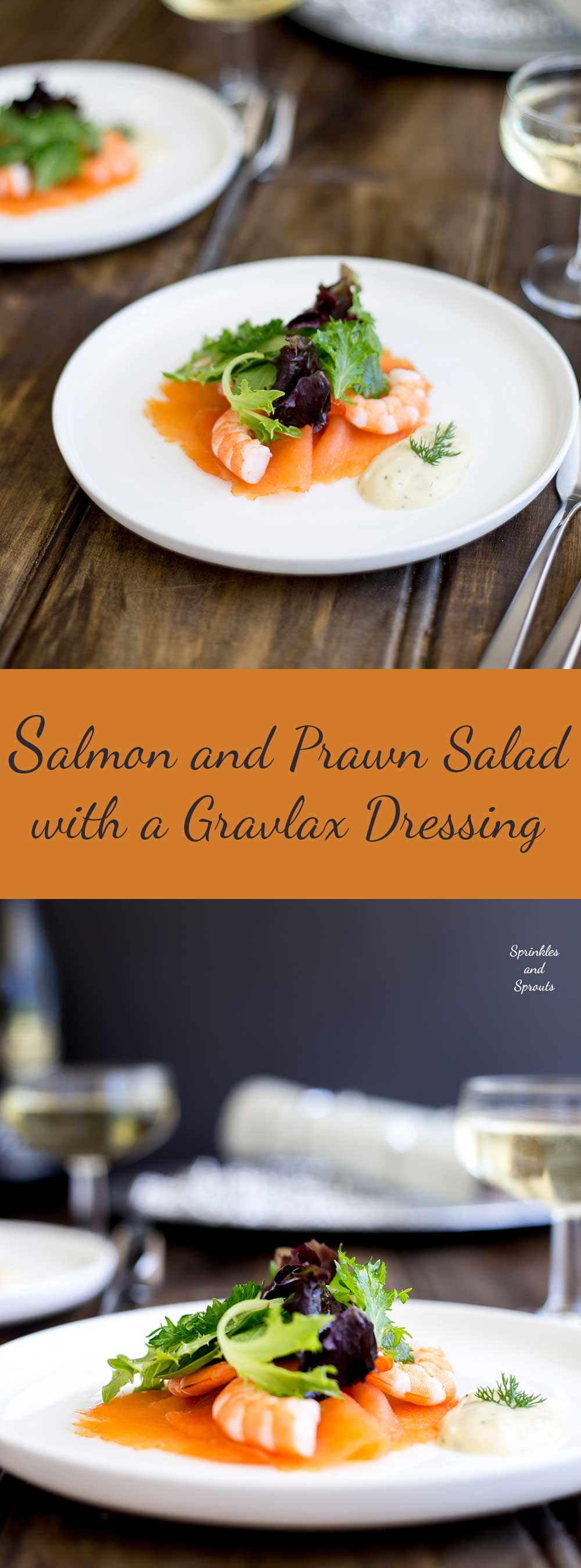 This Salmon and Prawn Salad with a Gravlax dressing is perfect for Christmas. It is rich yet light, feels posh and is super simple to make. As part of a Christmas feast it is the perfect first course. | Sprinkles and Sprouts
