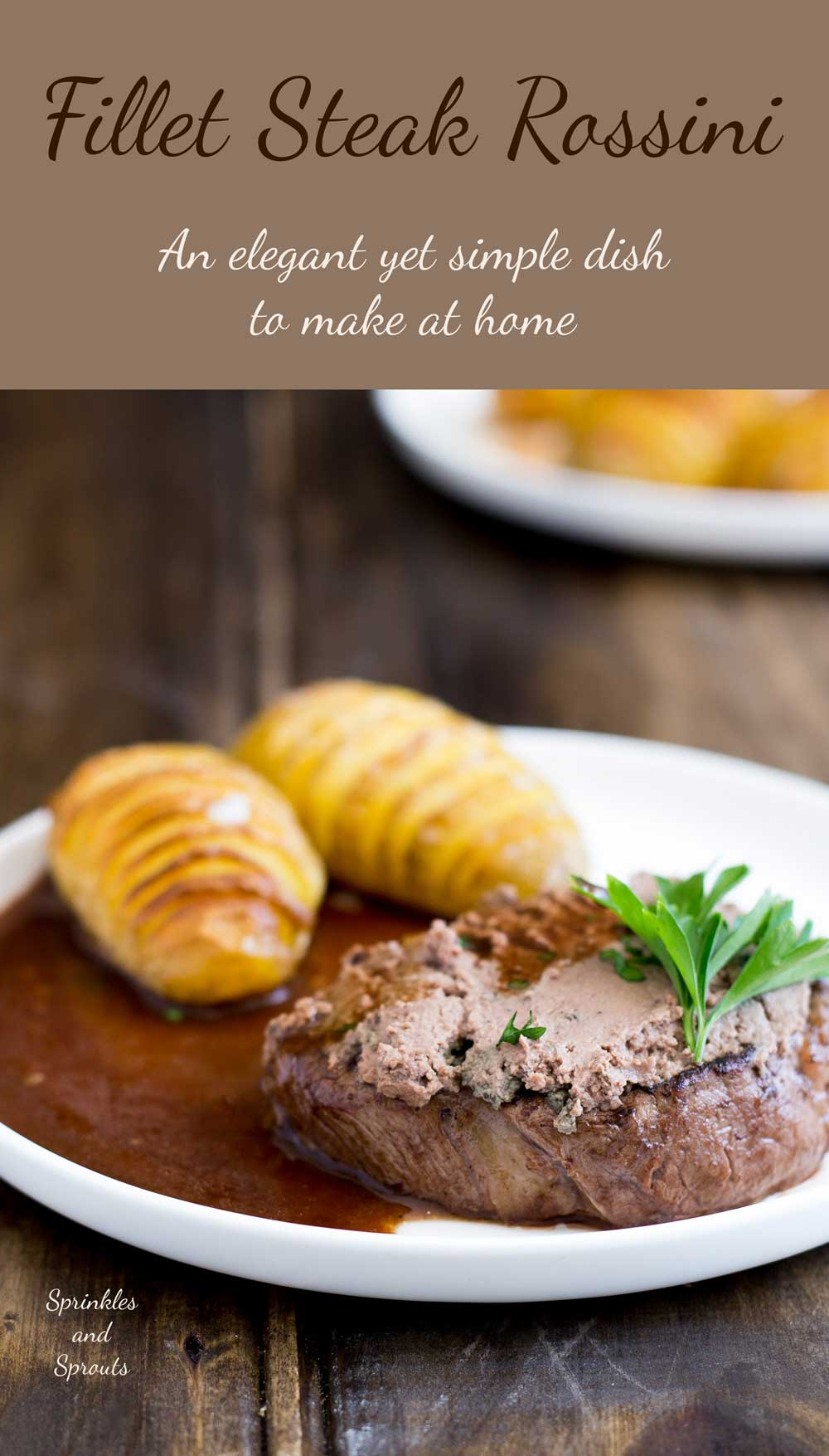 Fillet Steak Rossini, an elegant dinner party idea. Perfectly cooked steak, topped with rich pâté served with a delicious red wine jus. What could be better? Delicious, easy to make and looks dead posh ;-)