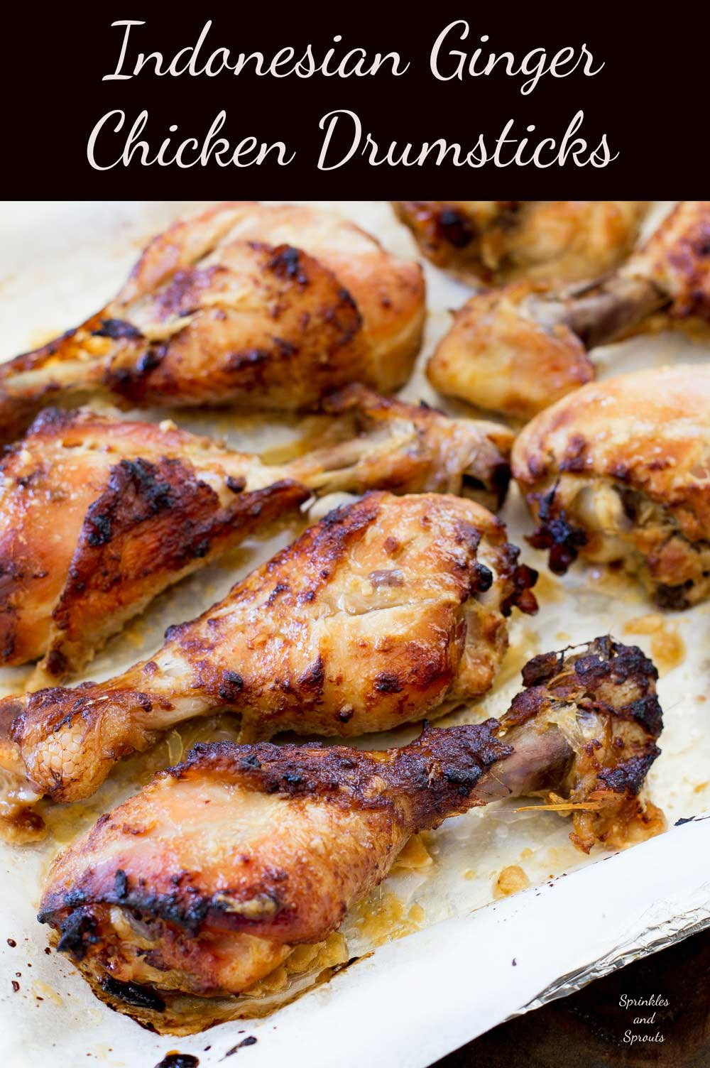 Chicken drumsticks marinated in a rich gingery glaze and then grilled to a slightly charred perfection. Served hot or cold these drumsticks are a great way to feed a crowd.