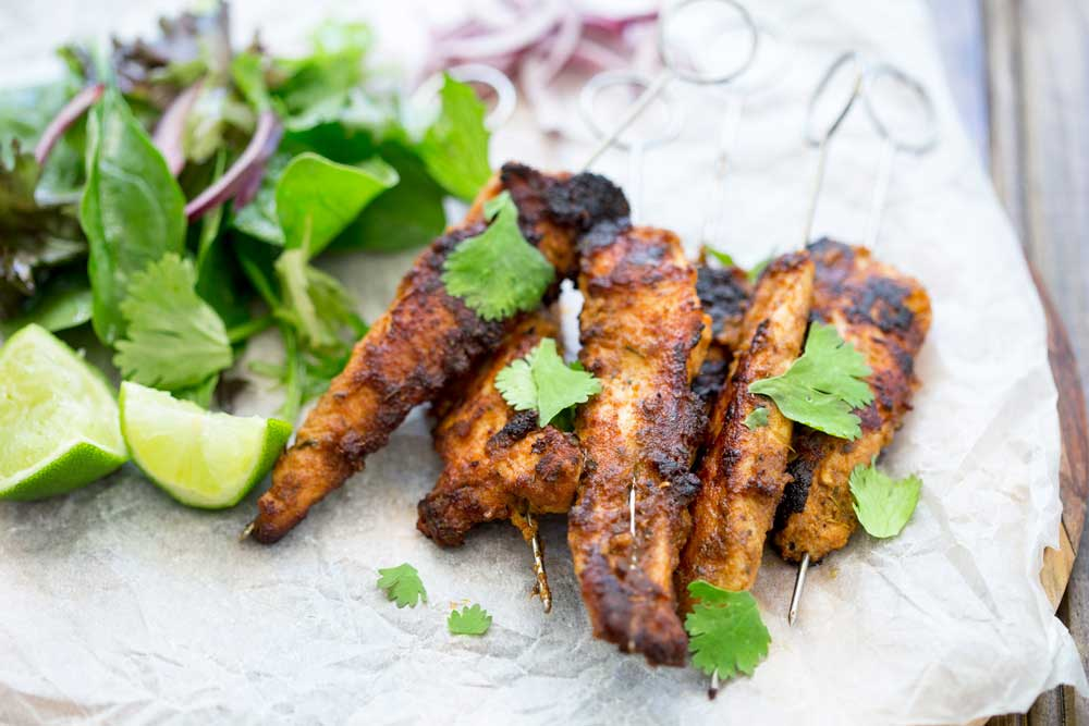 These Moroccan chicken skewers are a must. They are simple to make, taste delicious and are pretty much zero effort! The hardest job you have is pushing the chicken onto a skewer! All the work is done by the wonderful mix of spices that take plain chicken into a taste explosion! Served for dinner or as nibbles with drinks on game day!!! These are perfect for all the family.