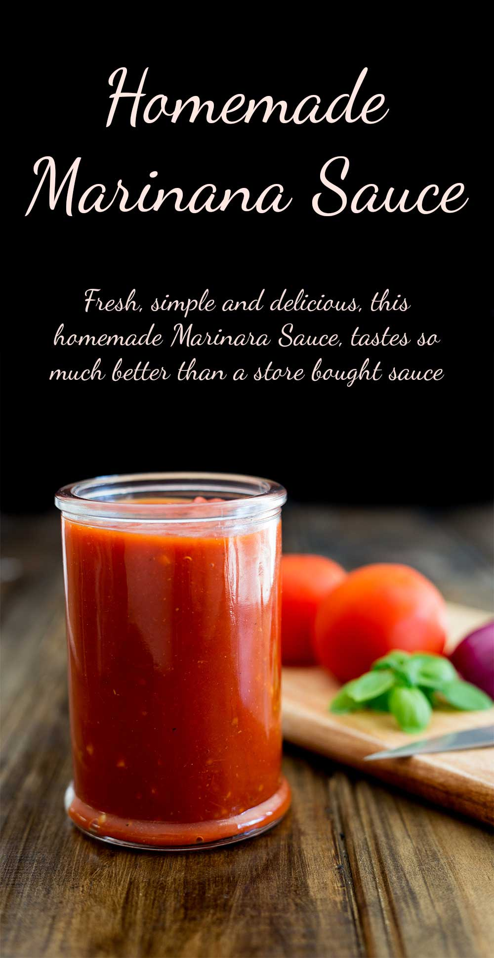 Fresh, simple and delicious, this homemade Marinara Sauce, tastes so much better than a store bought sauce. It is the basis for so many meals, use it on pasta, in your lasagne, as a topping for pizza and so much more!