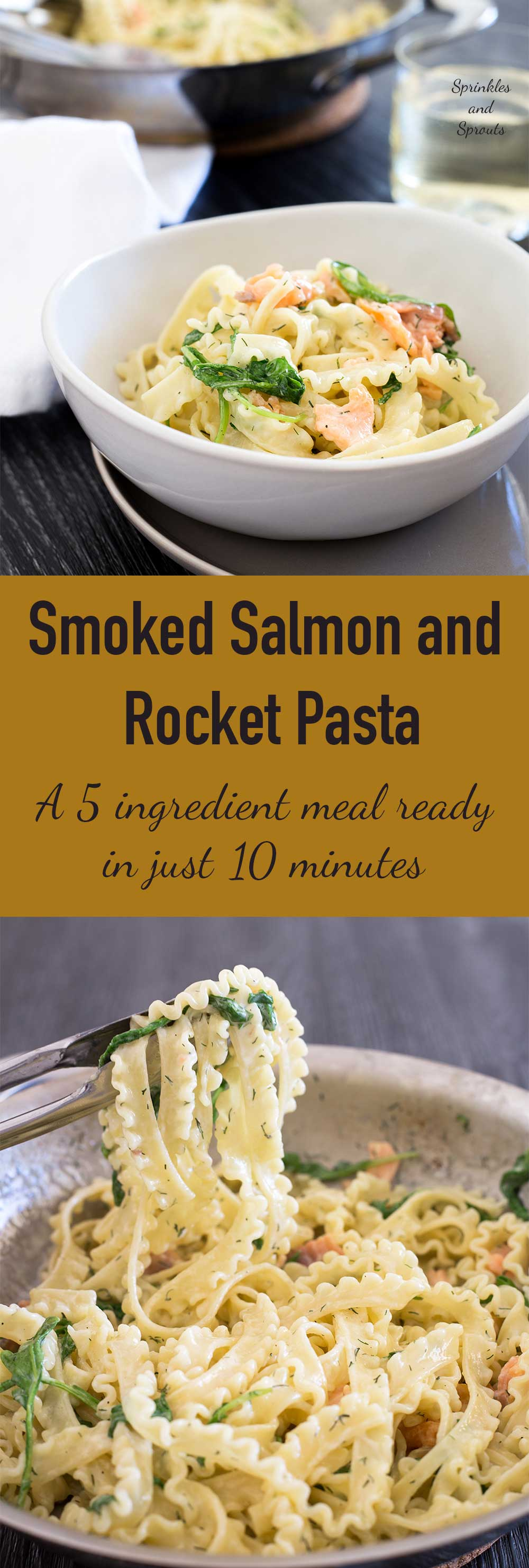 Smoked salmon, cream, dill and peppery rocket are mixed through pasta for a speedy and elegant dinner! Put some pasta on, pour a glass of wine, drink the glass of wine and eat. All in about 9 minutes!!! Wizard!