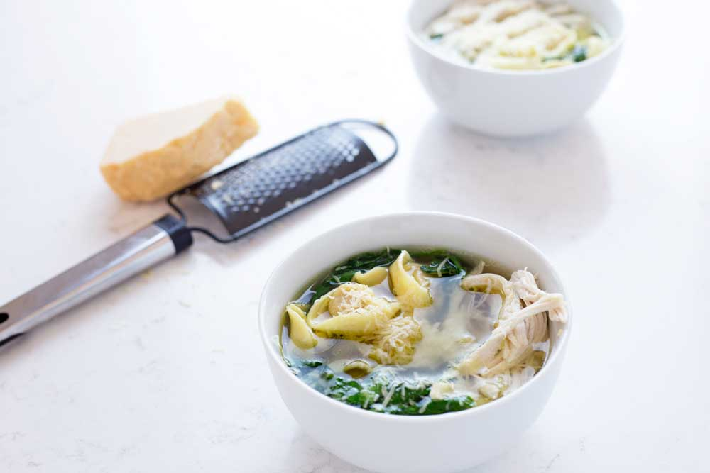 A filling chicken tortellini soup that is as easy to make as heating up a can of soup. But sooooo much better! Takea 2 minute dash around the supermarket andyou can have dinner on the table in 10minutes.