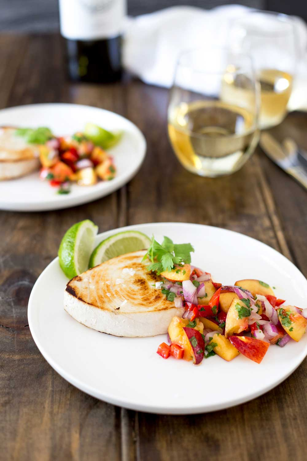 Firm meaty swordfish served with a fresh, fruity and slightly spicy salsa. This dish is the perfect dish for bring summer into Autumn or welcoming in the warmer weather of Spring. In fact it is perfect all year around!!!!