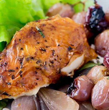 Succulent roast chicken, soft sweet onions, jammy grapes and a rich buttery rosemary sauce. Perfect with a salad and some crispy bread.