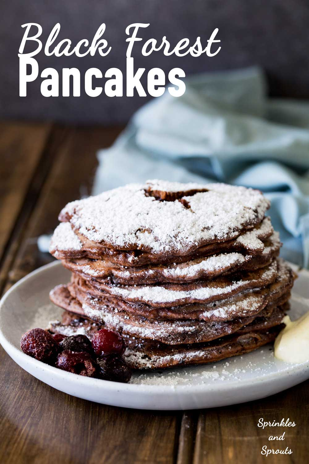 Rich chocolate pancakes, served with a delicious fruity cherry sauce and a good dollop of cream. These black forest pancakes are an extravagant but welcome breakfast treat!